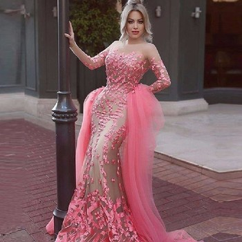 Hot Pink Celebrity Dress Mermaid With Appliques Evening Dress Selena Gomez Long Sleeve Prom Dresses Tulle Free Shipping