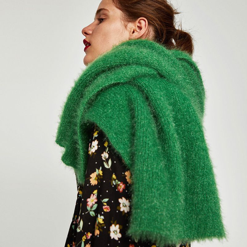 Fall/winter New Europe And The United States Light Soft Touch Solid Color Scarf Wool Long Thick Warm Green Scarf Ra