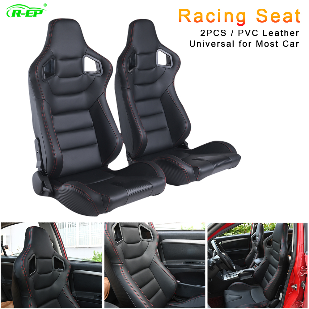 R-EP 2PCS Universal Racing Seat For Tuning Sport Car Simulator Bucket Seats Adjustable Black PVC Leather XH-1041-BK
