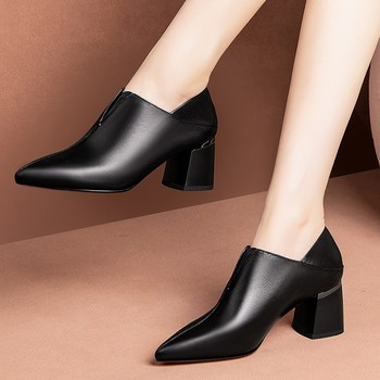MLJUESE 2020 women pumps Soft Cow leather autumn spring black color slip on pointed toe high heels shoes party dress size 33-42