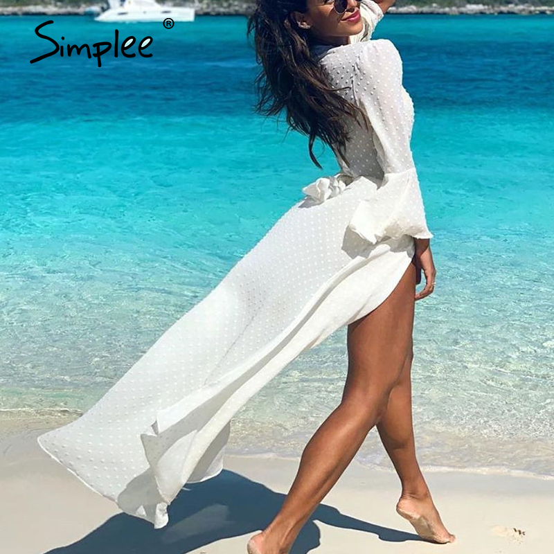 Simplee Chiffon White Sexy Women Long Cover-ups Casual Lace Up Transparent Cover-ups Polka Dot Summer Bach Bathing Cover-ups
