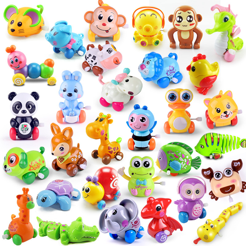 1 Pieces Baby Funny Kids Toys Spring Clockwork Toy Random Mini Pull Back Jumping Frog/Dog/Lion Wind Up Toys for Children Boys