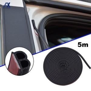 Seal Strip Sticker B Shape Type 5M Car Door Edge Weatherstrip Sound Insulation Noise Prevention WaterProof Dustproof Universal