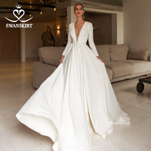 Luxury Beaded Satin Wedding Dress 2020 Elegant v neck Long Sleeve A Line Court Train Bride Gown Swanskirt UZ22 Vestido de noiva