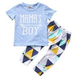 Pudcoco verão bebê recém-nascido roupas do menino manga curta camiseta de algodão topos + calça geométrica 2 pçs roupa da criança crianças conjunto