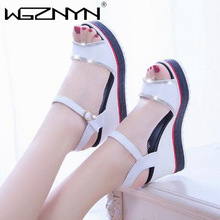 2021 NEW Wedges Crystal Sandals Woman Fashion Summer Heels Women's Ankle Buckle Strap Shoes for Female Footwear Peep toe Sandals