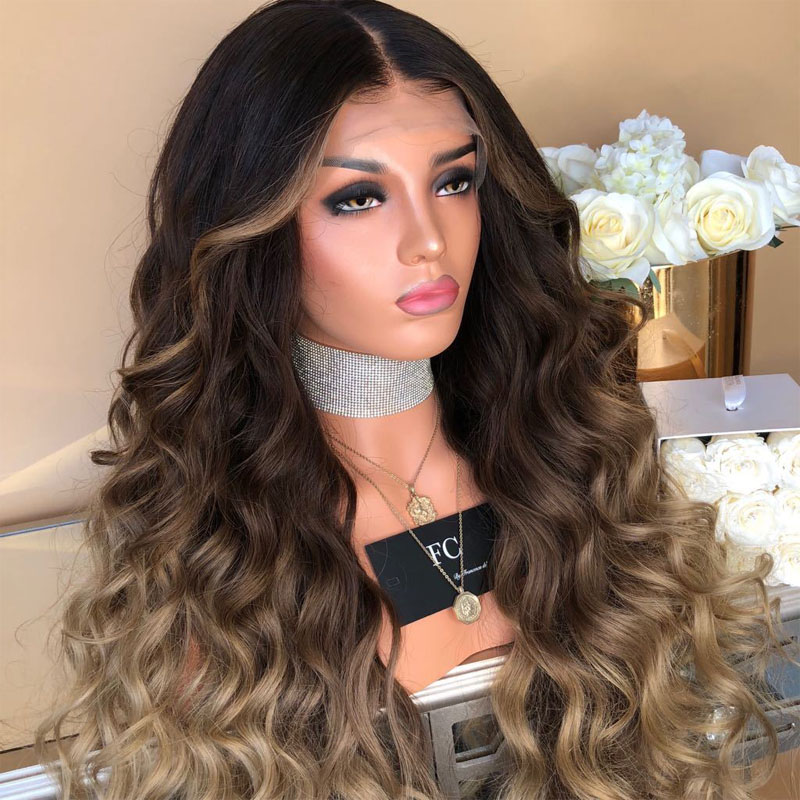 Fashion Ladies Wig Hair Accessories Women Ombre Blonde Linen Long Wavy Straight Hair Wigs Synthetic Natural Female Headwear Wig