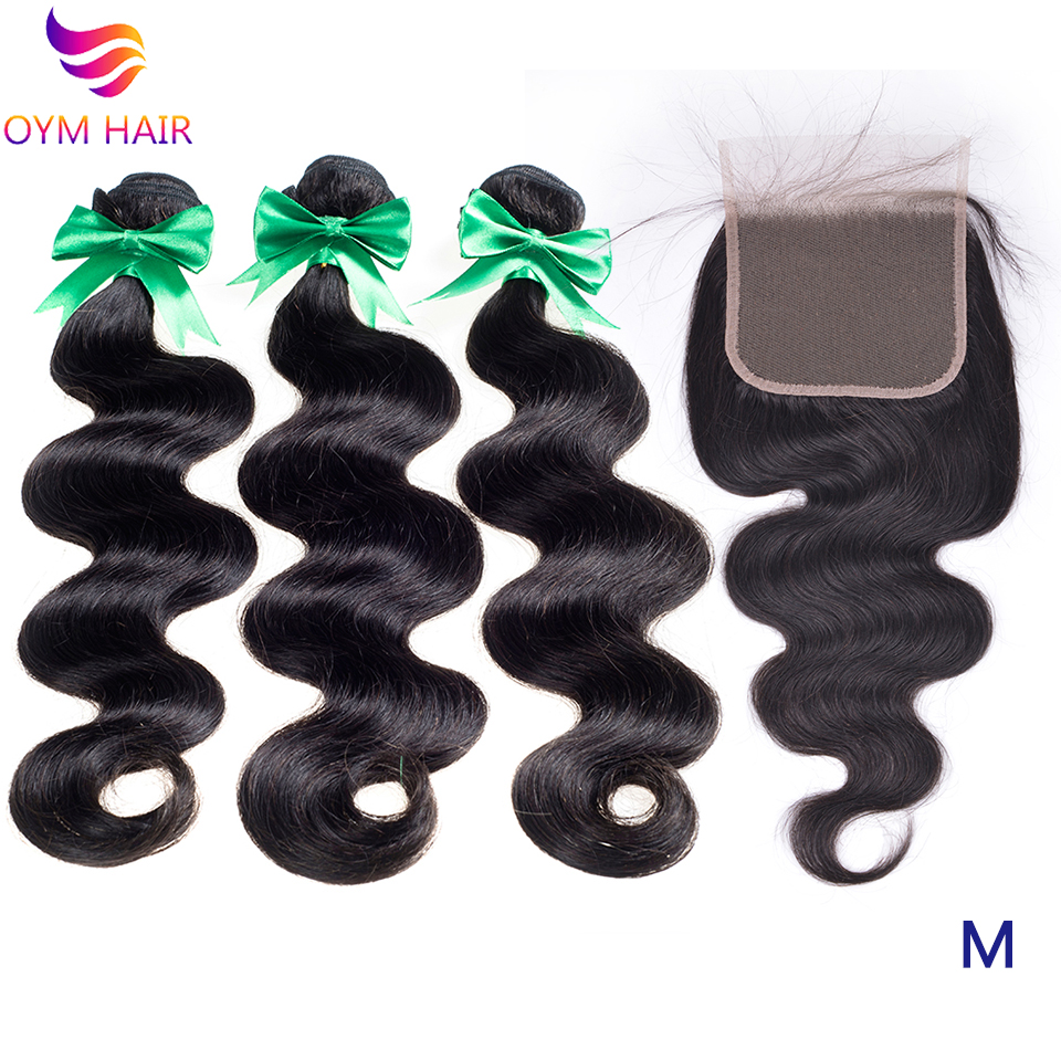 OYM HAIR Peruvian Body Wave Bundles With 5x5 Lace Closure Double Weft Non-Remy 100% Human Hair 3 4 Bundles With Closure