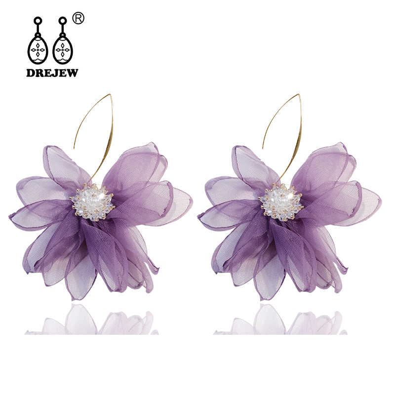 DREJEW Elegant White Purple Flower Statement Earrings Christmas 925 Crystal Alloy Drop Earrings for Women Wedding Jewelry E3601
