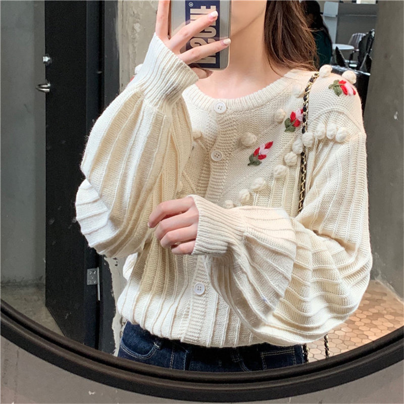 Hzirip Cute Casual Embroidery Floral White 2019 Sweet Loose All-Match Cardigans O-Neck Girls Women Knitted Stylish Basic Sweater
