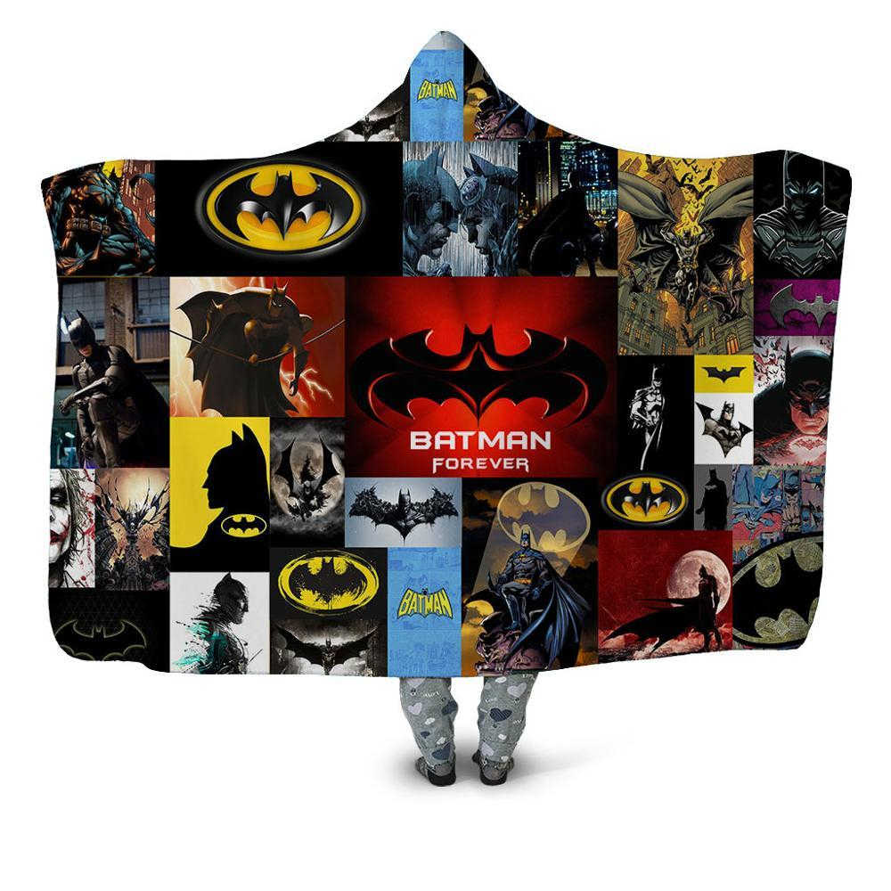 Dropshipping Climbing Batman 3d Printed Home Office Hooded Blanket For Adult Washable Warm Diy Sofa Fleece Throw Blanket