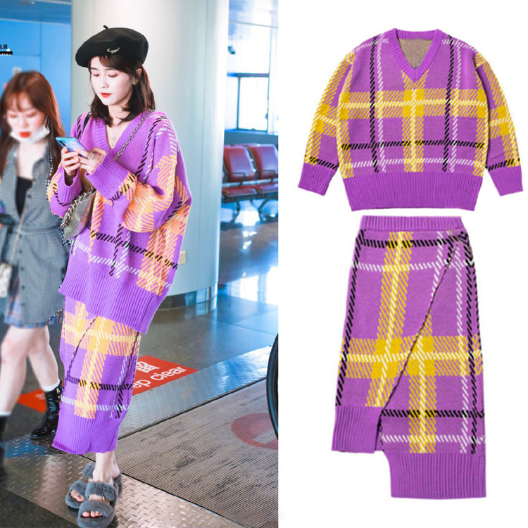 2019 Autumn And Winter Casual Versatile Star White Hart Airport Celebrity Style Plaid Sweater Two Pieces Dress Outfit