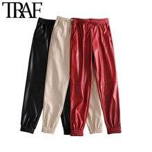 TRAF – pantalon de Jogging en Faux cuir pour femmes, poches latérales, Vintage, taille haute, élastique, cordon de serrage, à la cheville