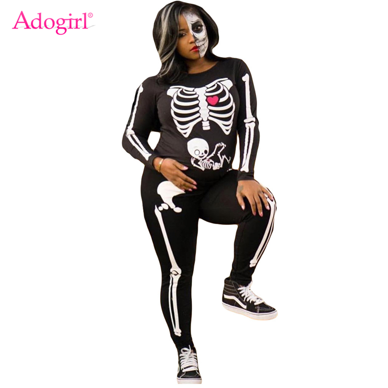 Adogirl Halloween Skull Print Women Jumpsuit O Neck Long Sleeve Skinny Romper Fashion Party Overalls Festival Costumes Outfits