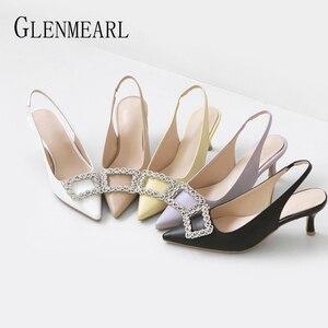 Women Shoes High Heels Trip Women Shoes Yellow Woman Pumps Purple Black Microfiber Rhinestone Women Sandals Summer 2020 New(China)