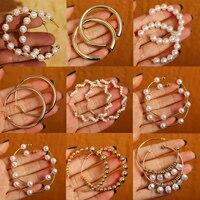 17KM Vintage surdimensionné perle boucles d'oreilles pour femmes filles Brinco grand cerceau boucles d'oreilles cercle boucle d'oreille déclaration géométrique mode bijoux
