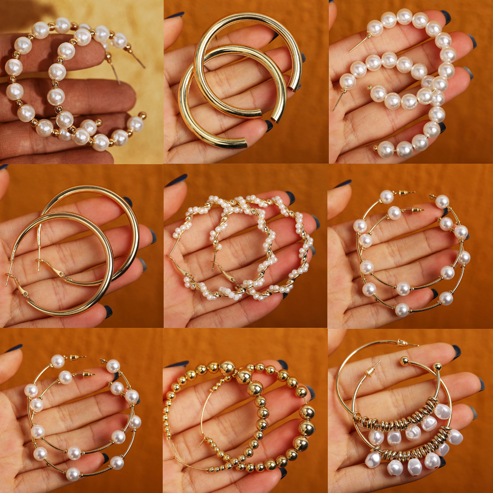 17KM Vintage Oversize Pearl Earrings For Women Girls Brinco Big Hoop Earrings Circle Earring Statement Geometric Fashion Jewelry