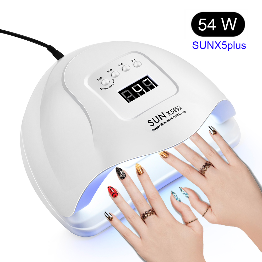 54/36W SUN X5 Plus Nail Dryer LCD Display 36 LEDs Nail Lamp UV LED Lamp For Curing Gel Polish Auto Sensing No Bottom