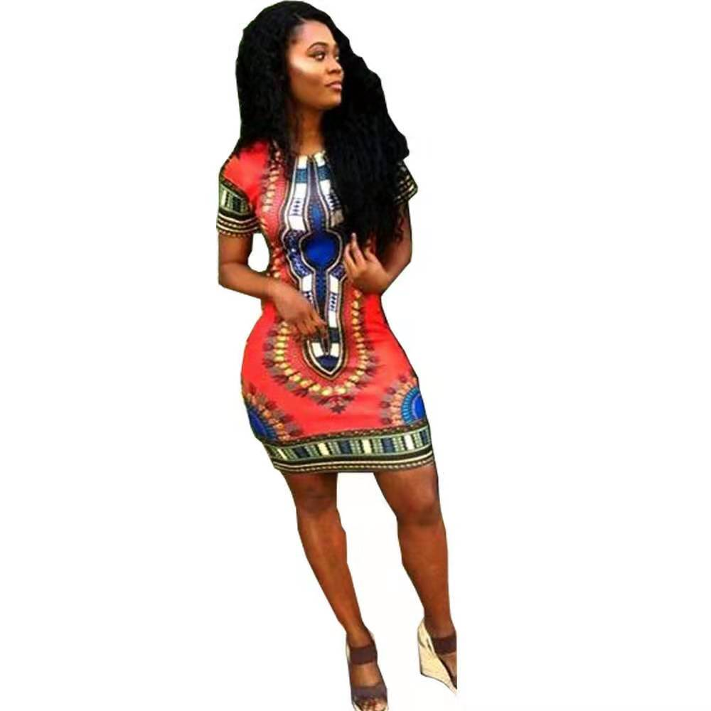 LEDEDAZ Summer Fashion Ethnic Print African Dresses For Women Bazin Vestidos Sexy Dashiki Clothes Red / Pink Yellow