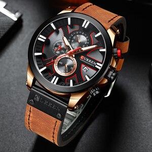 Image 4 - CURREN İzle Chronograph spor Mens saatler kuvars saat deri erkek kol saati Relogio Masculino moda hediye erkekler için