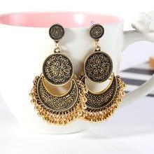 baroque personality retro ornaments  exaggeration crescent tassel big earrings jewelry women bohemian