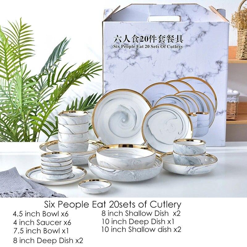 20 pièces rose/gris marbre céramique vaisselle ensemble riz salade nouilles bol soupe charge assiettes plat cuisine vaisselle pour usage familial