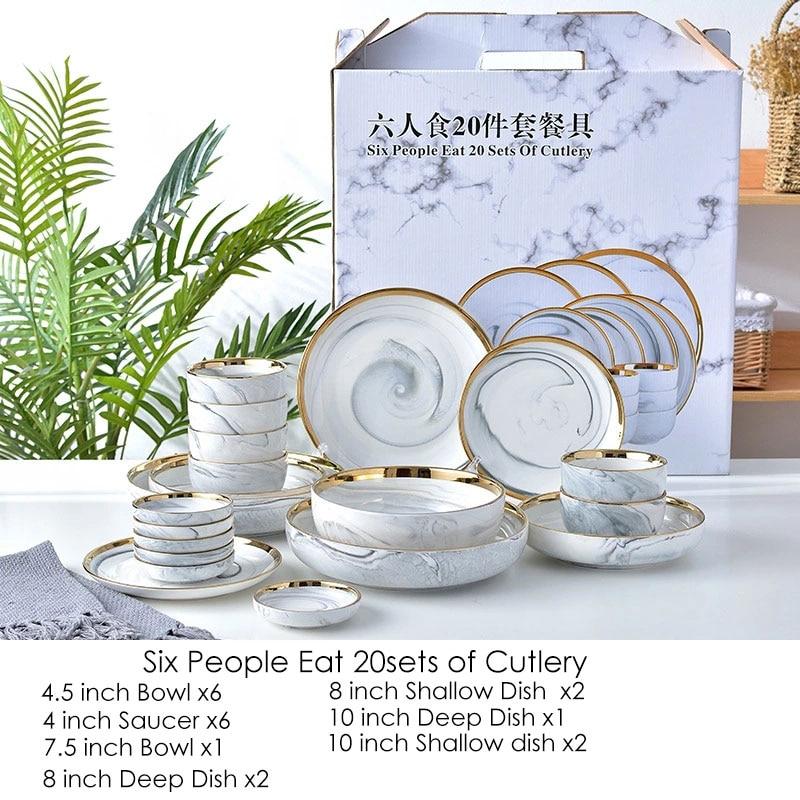 Service de vaisselle en céramique marbre rose/gris   20 pièces, salade de riz bol de nouilles assiettes de charge, vaisselle de cuisine pour usage familial