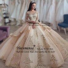 Роскошное бальное платье принцессы; свадебные платья; коллекция года; Золотое кружевное платье невесты с аппликацией и длинными рукавами; Свадебные платья с бисером; Robe De Mariee