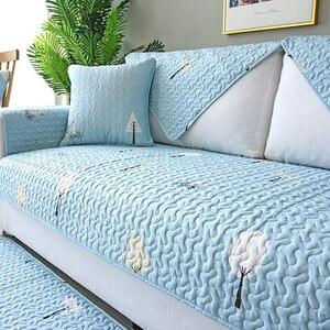 Image 1 - Four seasons universal sofa cushion, non slip Nordic cotton cotton fabric back towel all inclusive universal cover