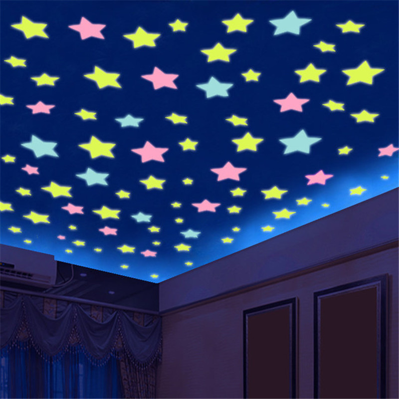 100 Pcs. 3D Kids Bedroom Fluorescent Glow In The Dark Stars Glow Wall Stickers  Luminous Glow Sticker Color Home Decoration