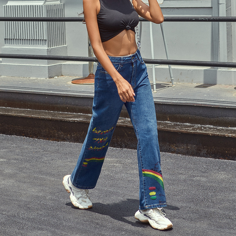 JYSS new woman jeans rainbow pattern straight pants high waist trousers streetwear cargo pants women 30300