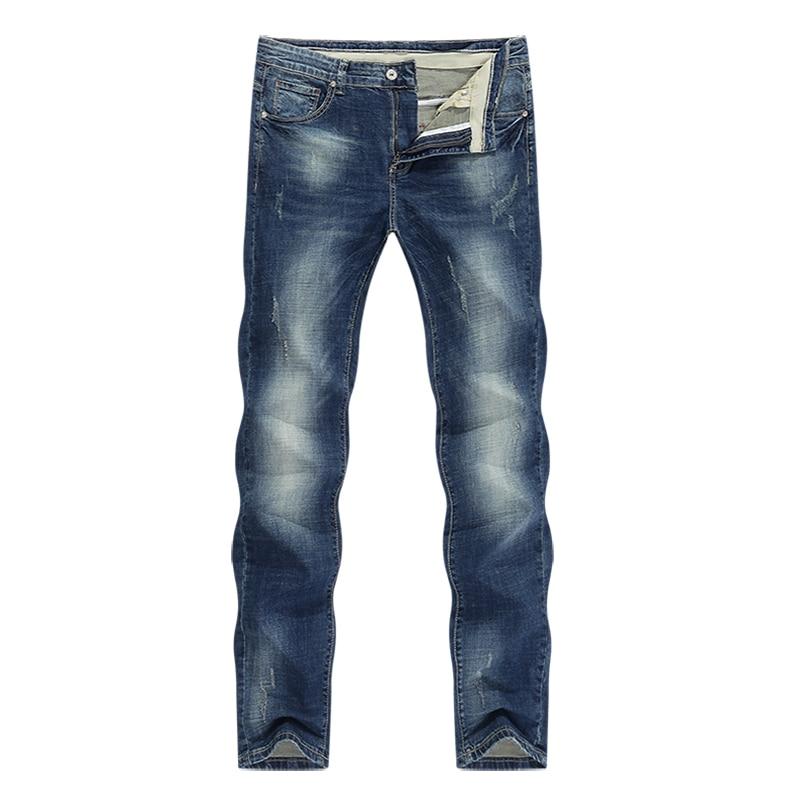 KSTUN Mens Jeans Brand Stretch Retro Blue Slim Straight Regular Fit Casual Vintage Male Long Trousers Denim Pants Large Size 40 11