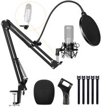Microphone Stand With Metal Shock Mount For BM 800 Adjustable Desktop Mic Pop Filter stand Boom Arm For fifine k669 Blue Yeti