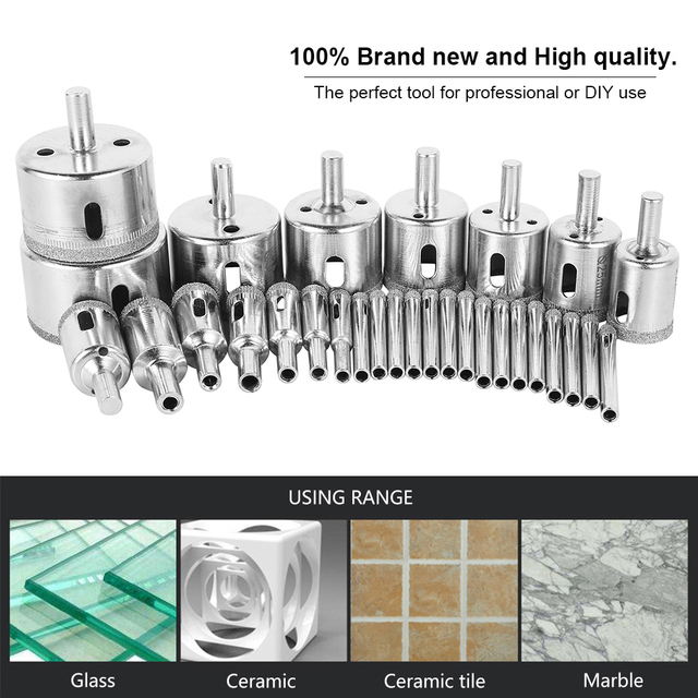30pcs Diamond Coated Drill Bit Set Tile Marble Glass Ceramic Hole Saw Drilling Bits For Power Tools 6mm-50mm 3
