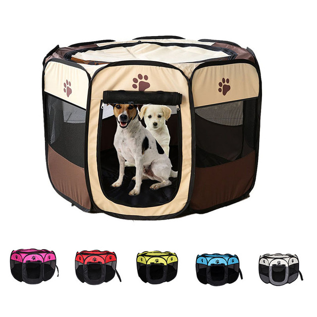 Pet Cage Portable Pet Tent Folding Dog House Cage Cat Tent Playpen Puppy Kennel Easy Operation Octagonal Fence Large Dogs House 1