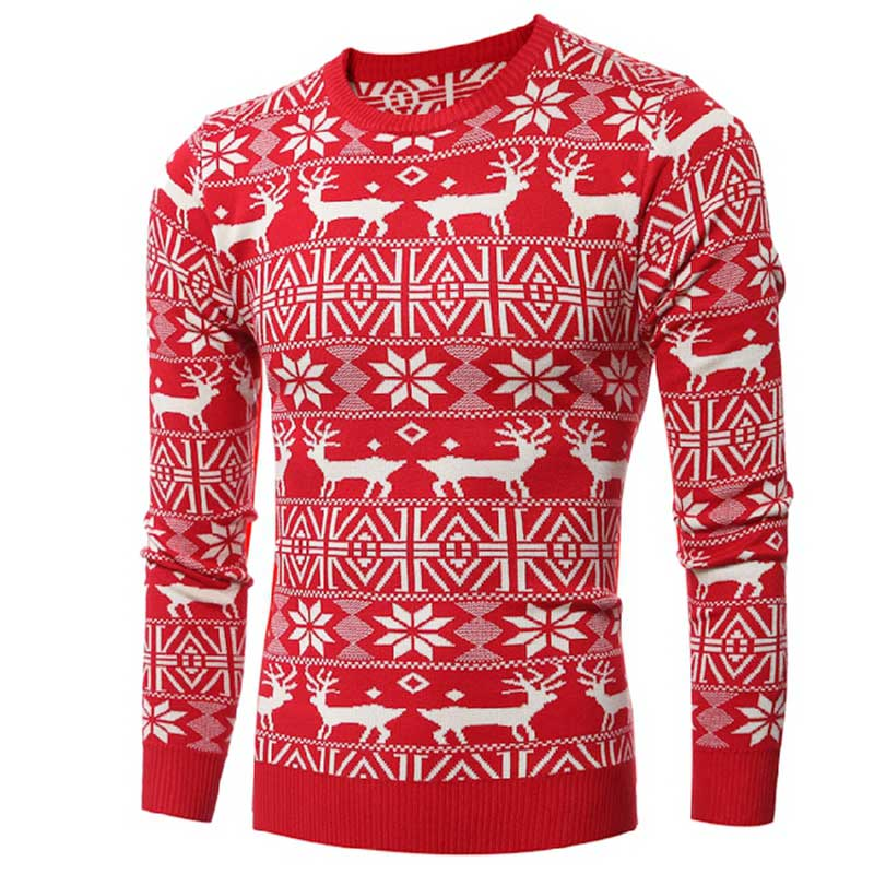 MITEKSAN New Christmas Men Sweater Knitwear Printed Deer Thicken Pullover Men Fashion Vintage Pull Homme Plus Size 2019 Jersey