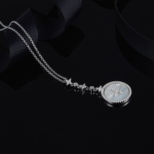 # [MeiBaPJ]Real 925 Pure Silver MoonStar Pendant Necklace for Women Fine Brand Party Charm Jewelry