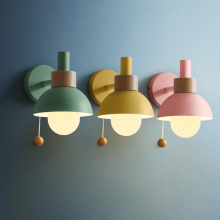Nordic Wood Wall Lamp E27 Macarons Led Wall Lights For Bedside Bedroom Modern Mirror Lamp Home Lighting Fixtures Luminaire
