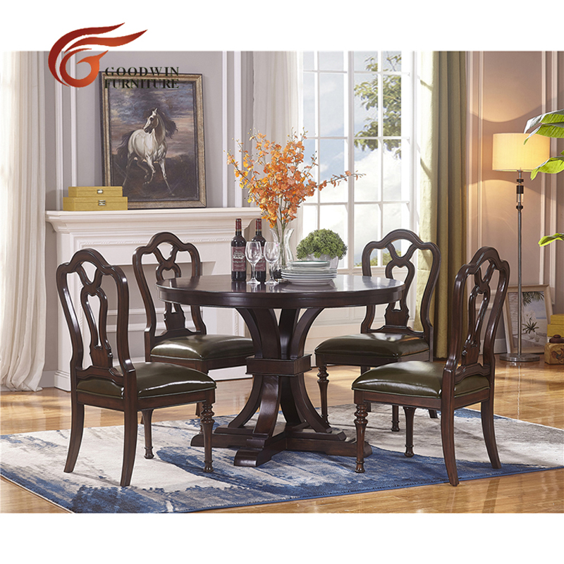Space Saving Solid Wood Round Dining Table And Chairs And Wooden
