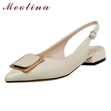 цена Meotina Metal Decoration Low Heel Slingbacks Pumps Real Leather Women Shoes Pointed Toe Thick Heels Buckle Lady Shoes Black 40 онлайн в 2017 году