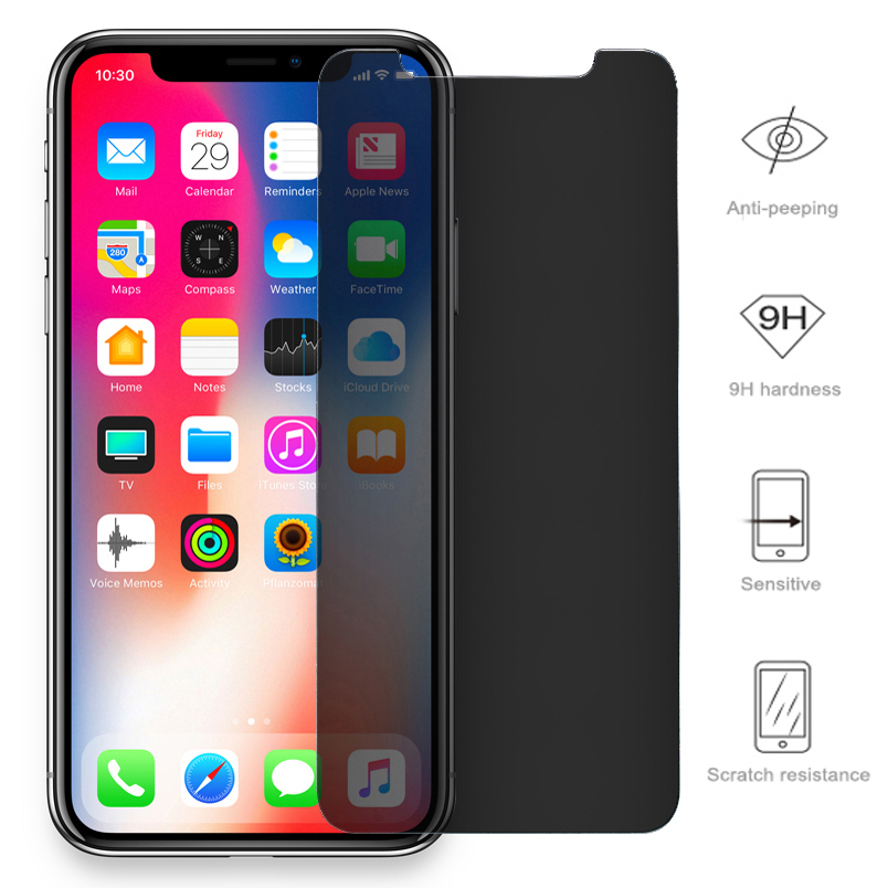 Private <font><b>Screen</b></font> <font><b>Protector</b></font> For <font><b>iPhone</b></font> 11 Pro XS MAX XR <font><b>5S</b></font> SE Antispy Tempered <font><b>Glass</b></font> For <font><b>iPhone</b></font> 6 6s 7 8 Plus X Privacy <font><b>Glass</b></font> Film image