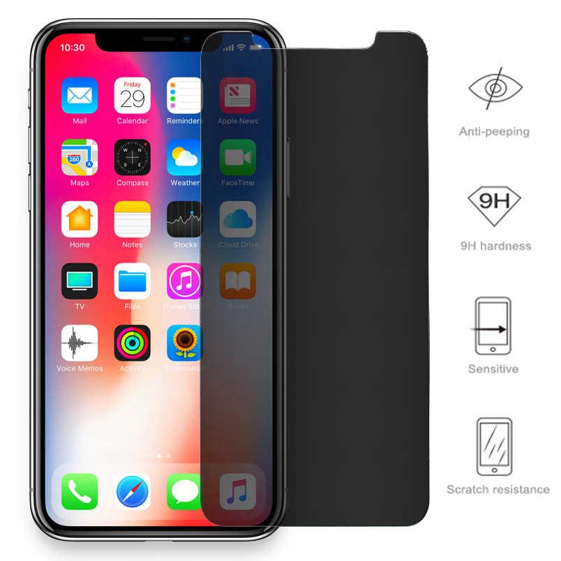 ส่วนตัวสำหรับ iPhone 11 Pro XS MAX XR 5S SE Antispy กระจกนิรภัยสำหรับ iPhone 6 6s 7 8 Plus X ความเป็นส่วนตัวฟิล์มแก้ว