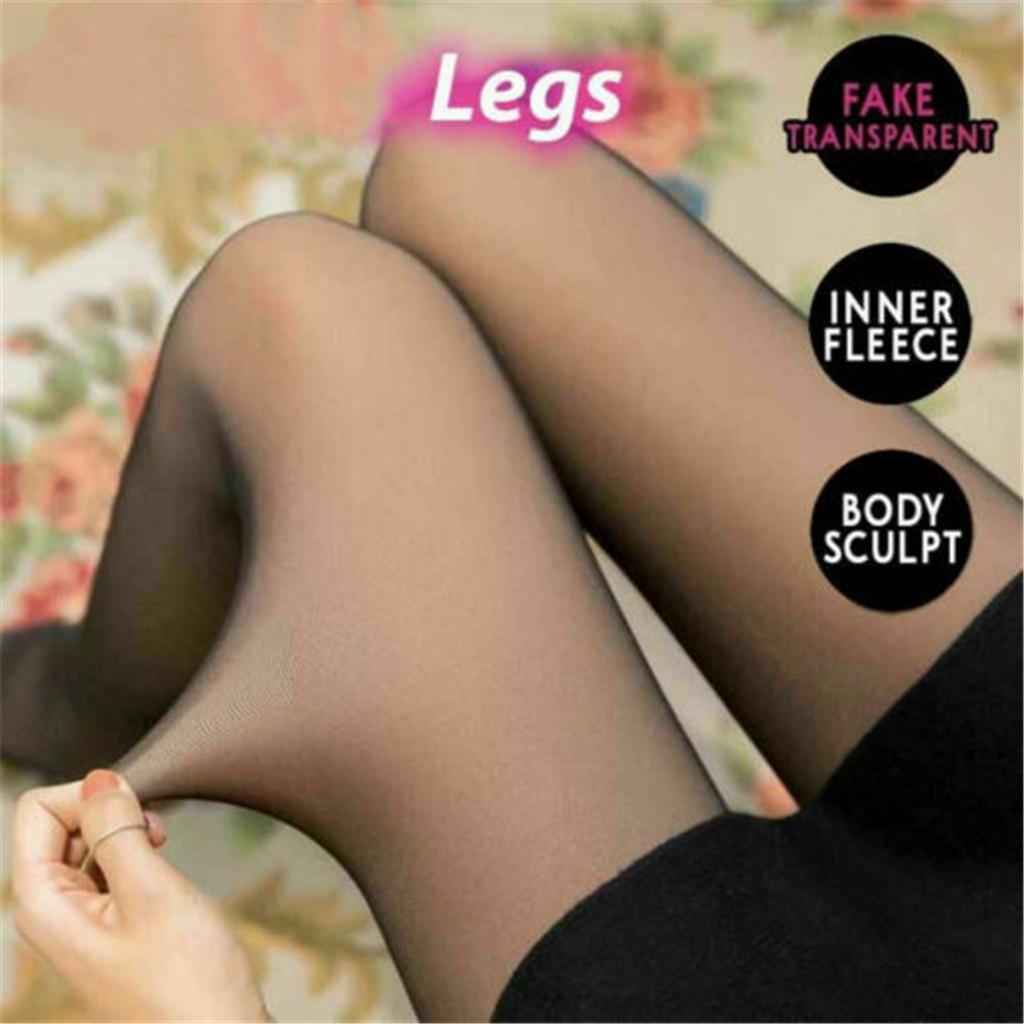 Поддельные прозрачные женские носки Модные женские осенние и зимние высокие эластичные обтягивающие ноги толстые бархатные теплые # YL10