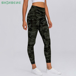 SHINBENE Classical 4.0 Camo-Panther-Geometric Fitness Workout Leggings Women Naked-feel 7/8 Length Squat Proof Gym Sport Tights