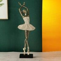 Abstract Ballet Sculpture Figurine Ornaments Ballerina Office Home Decoration Modern Dancer Art Ballet Girl Resin Craft Decor
