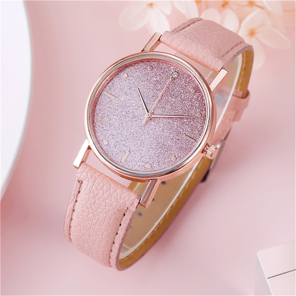 Female Elegant Analog Quartz Wrist Watch Leather Band Luxury Star Dial Diamond Relogio Feminino Bracelet Women Watch Girl Clock
