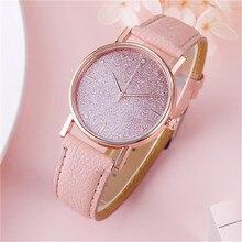 Female Elegant Analog Quartz Wrist Watch Leather Band Luxury Star dial Diamond r