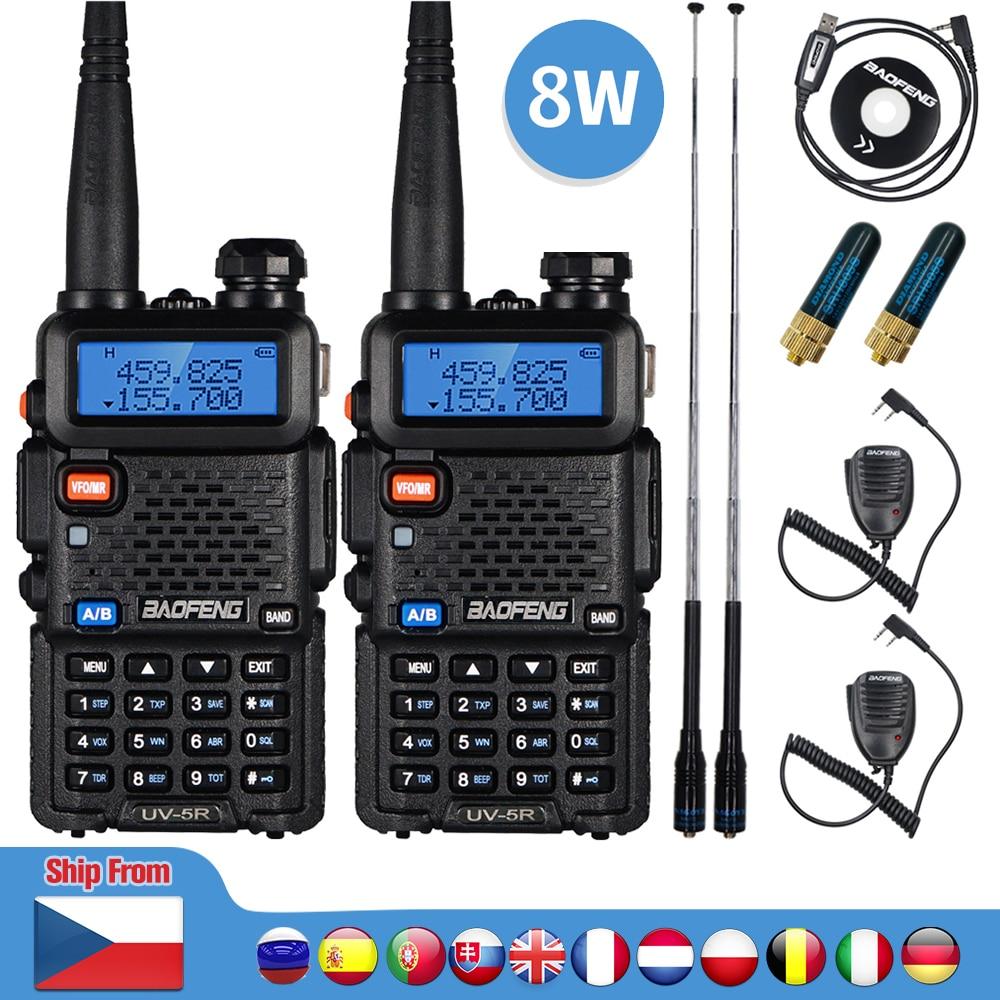 2pcs Real 8W Baofeng UV 5R Walkie Talkie UV 5R High Power Amateur Ham CB Radio Station UV5R Dual Band Transceiver 10KM Intercom Walkie Talkie  - AliExpress