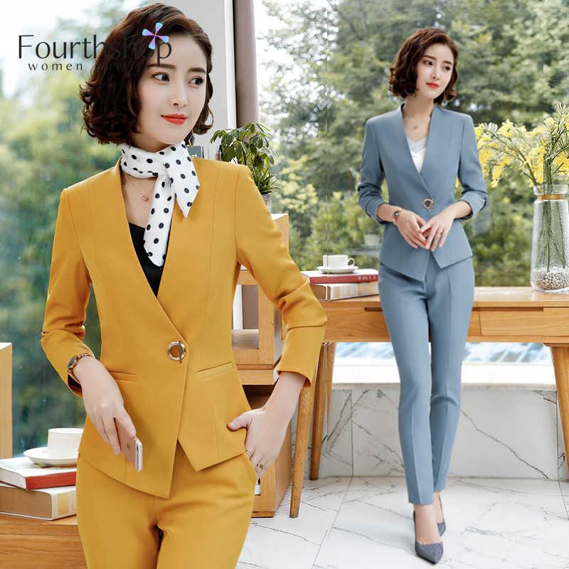 ファッション女性のためのエレガントな 2 枚のジャケットパンツセット秋冬レディースパンツスーツ女性プラスサイズオフィスレディワークドレススーツ