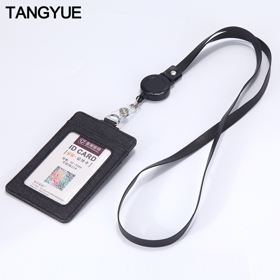 Retractable Lanyards ID Badge Holder Leather Porte Bus Pass Case Cover Slip Men Women's Bank Credit Card Holder Strap Cardholder
